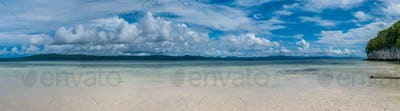 Beach on Kri Island, Gam in Background, Raja Ampat, Indonesia, West Papua