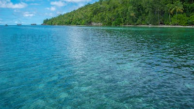 Bay in Front of Diving Station and Homestay on Kri Island, High tide, Raja Ampat, Indonesia, West