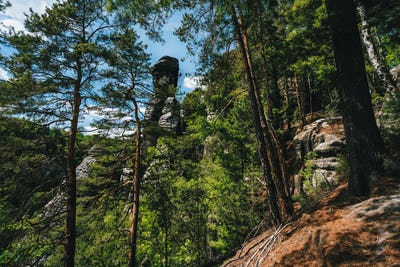Rock with climber silhouette in famous Bastei rock formation. National park Saxon Switzerland