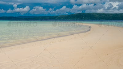 Sandy Bank during Low Tide on Kri Island, Gam in Background, Raja Ampat, Indonesia, West Papua