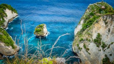 Rock in the ocean at Atuh beach on Nusa Penida island, Indonesia