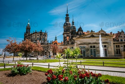 Dresden, Germany. Spring scene in historical cityscape, residence kings of Saxony Dresden Castle