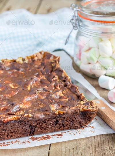 Homemade brownies with marshmallow
