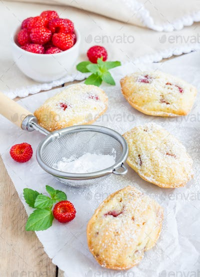 Sugar powdered madeleines with raspberry