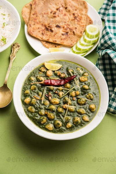 Chickpea Spinach Curry or Palak Chole Sabzi, Indian food