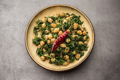 Spinach chickpea Dry Curry / Palak chana Sukhi masala sabzi