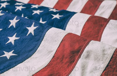 USA flag, US of America sign symbol background, closeup view