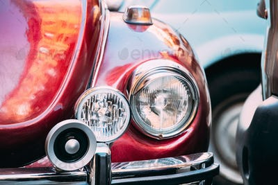 Close Up Headlight Of Old Retro Vintage Red Color Car