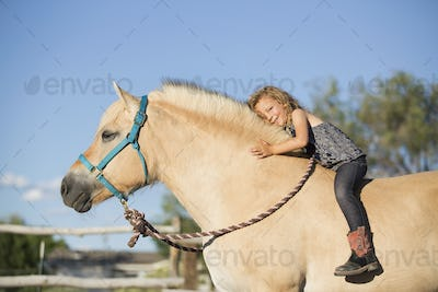A young girl sitting on a horse.