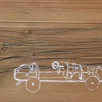 A line drawing image of a car on a natural wood grain background.