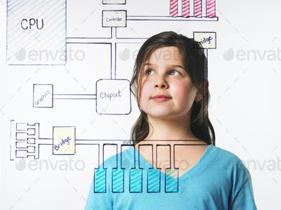 A young girl looking at a drawing of a computer motherboard circuit drawn on a clear surface.