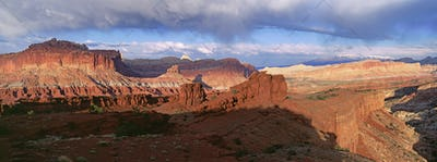 A view across the deep canyons and landscape of the Capitol Reef national park
