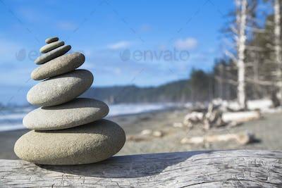 A pile of balancing smooth beach rocks near Rialto Beach, Olmpic national park, in Washington, USA