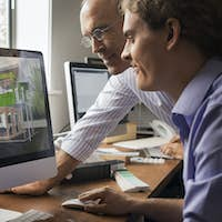 Architects designing and building efficient environmentally friendly buildings.