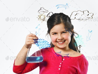 A young girl holding a flask by an evaporation cycle illustration drawn on a clear panel