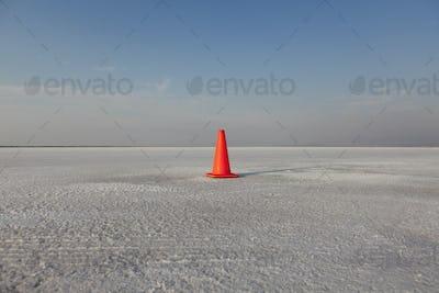 Traffic cone track marker on Bonneville Salt Flats, during Speed Week.