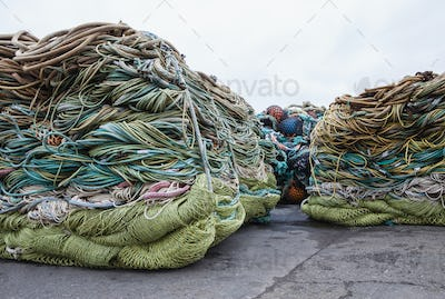Commercial fishing nets at Fisherman's Terminal, Seattle, USA.