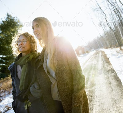 Mother and Daughter Outdoors Winter,U.S.