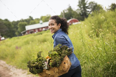 A woman carrying a basket overflowing with fresh green vegetables on a farm