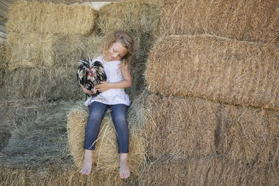 Young girl sitting on a hay bale, holding a chicken in her arms.