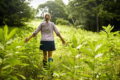 A woman walking through the undergrowth in woodland, hands brushing the tops of wild plants.