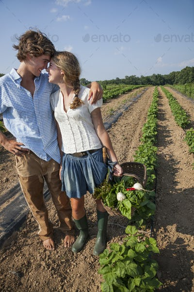 A young couple, girl and boy walking along a row of vegetable plants in a field, holding hands.