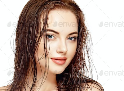 Wet hair woman portrait, beauty hair healthy skin care concept, beautiful model with wet hair