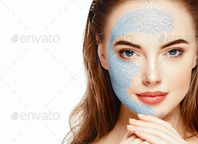 Woman spa mask half-face beauty concept healthy portrait.