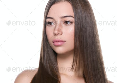 Long smooth hair beauty healthy skin woman