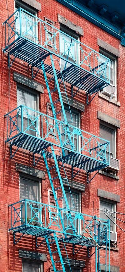 Blue fire escape in New York City.
