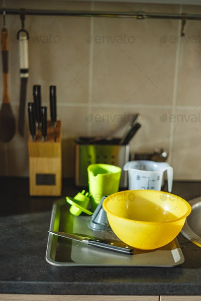 Kitchen worktop with washed dishes