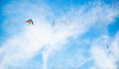 Beautiful kite in bright colors of the rainbow