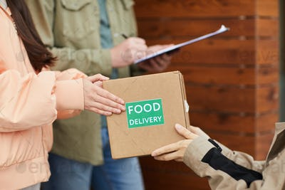 People getting food delivery