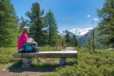 An elderly woman during an trek