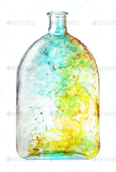 hand painted glass flask isolated on white