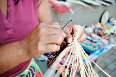 Indigenous People Crafting Souvenirs For Sale