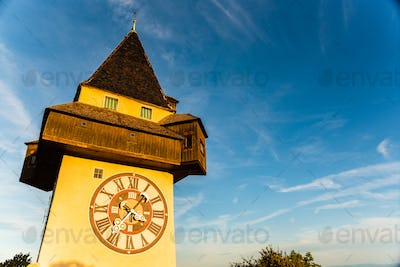 View at famous Clock Tower Uhrturm at Schlossberg hill. Copy space