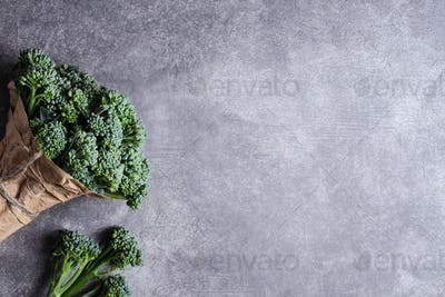 Bunch of Broccolini on Stone Background.