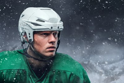 Close up outdoor portrait of hockey player.
