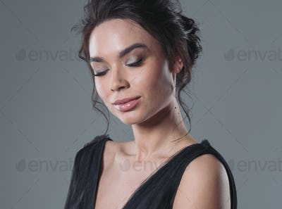 Beautiful asian woman in black dress beauty make up