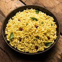 Puffed Rice Chivda or Maharashtrial Bhadang Chiwda served in a plate