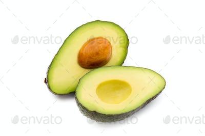 Avocado pieces set isolated on white background.