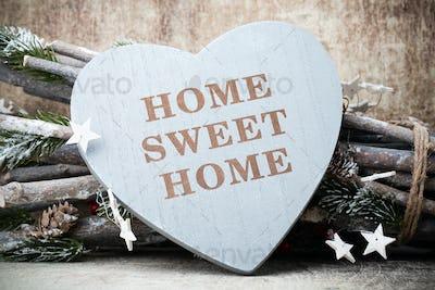 Home. Sweet home. Interior decor. Rustic heart.