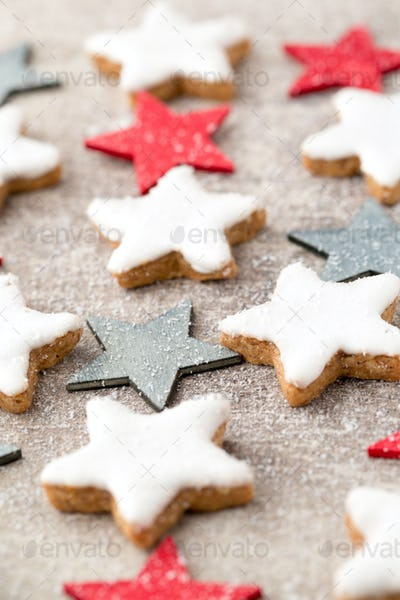 Christmas cookies with small christmas decoration.