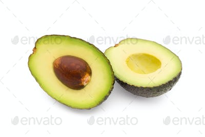 Avocado pieces set isolated on white background.