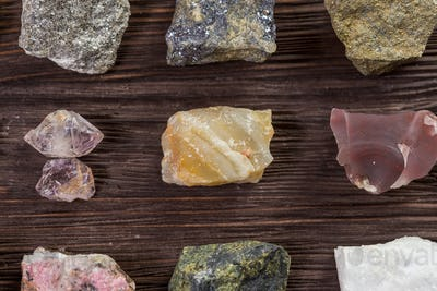 Collection set of minerals and stones.