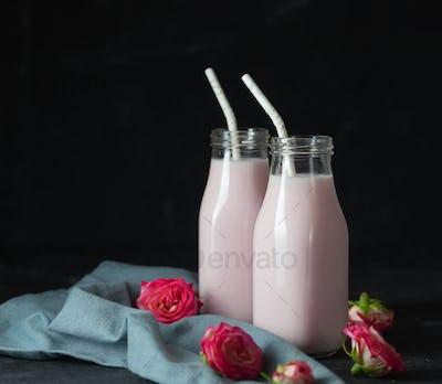 Moon milk prepares with pink rose