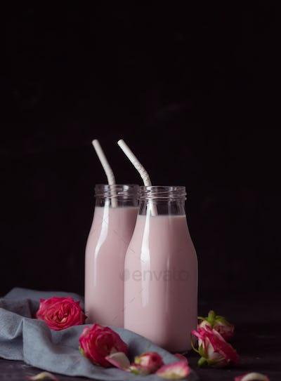 Moon milk prepares with pink rose flower