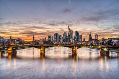 Beautiful sunset over downtown Frankfurt