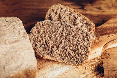 Sliced wholemeal bread, made at home